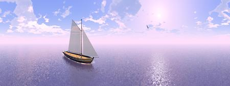 28849275 - one sailing boat floating on the water next to seagull by sunset, 360 degrees effect