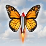 Creative breakthrough business metaphor as a rocket with monarch butterfly wings blasting off to higher levels of success as a symbol of the power and speed of innovation and invention on a sky background